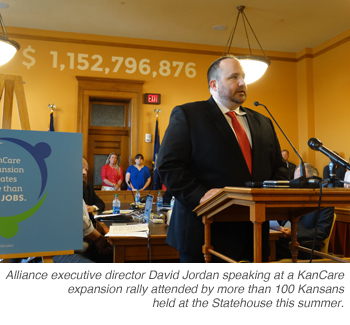 Alliance executive director David Jordan speaking at a KanCare expansion rally attended by more than a 100 Kansans held at the Statehouse this summer.